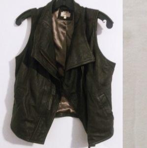 June Leather Vest Anthropologie Black Soft Moto M